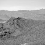 Black and White Photo of Arid Mountains