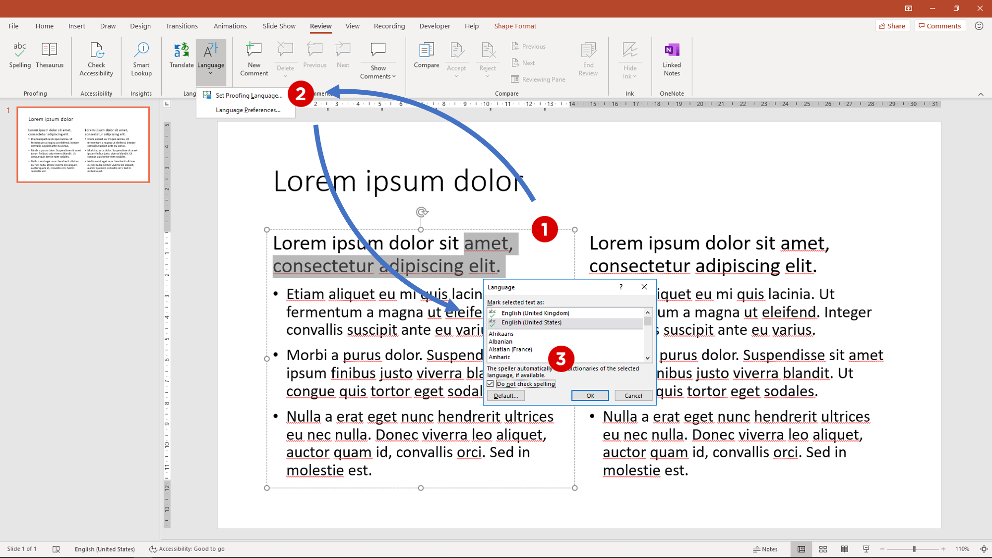Screenshot to disable spelling for some text in PowerPoint