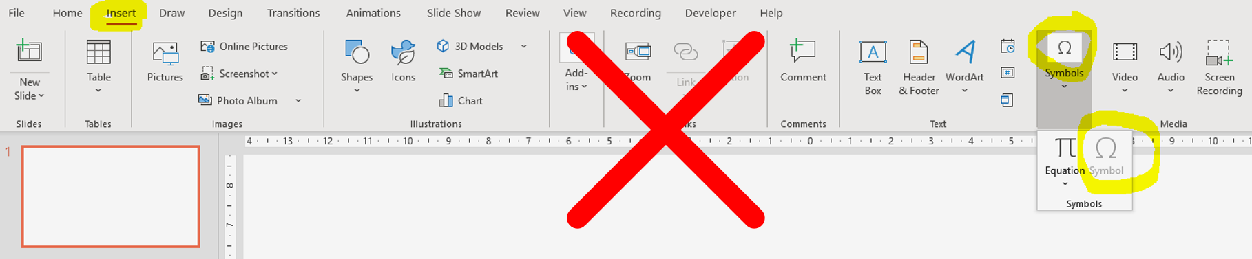 Screenshot showing the long way to insert a symbol in PowerPoint