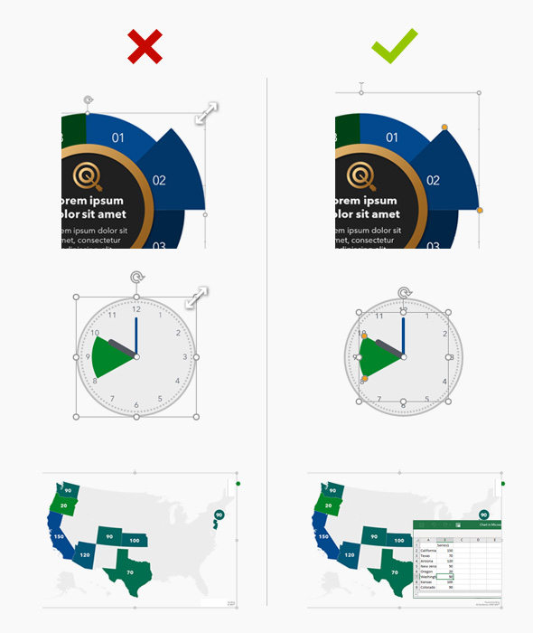 Graphic showing the difference between Native editing and working with standard vector assets in PowerPoint.