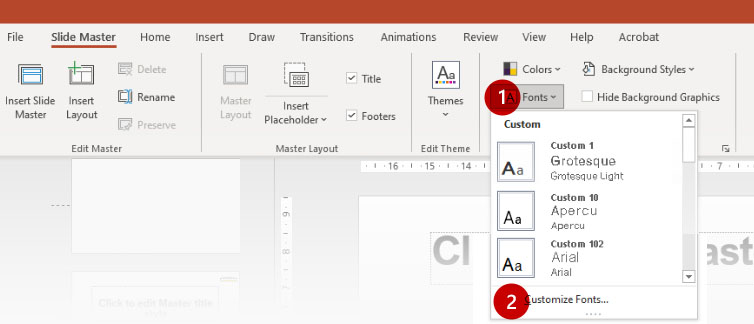 PowerPoint Slide Master - Save Theme Fonts