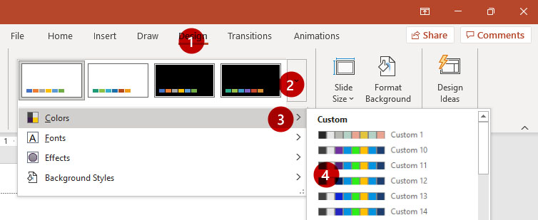 Screenshot of Design Ribbon in PowerPoint with Color Variants Selected
