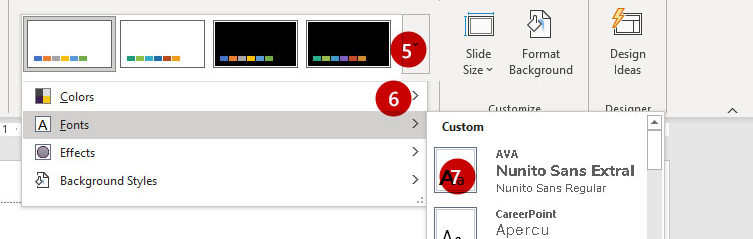 Screenshot of Design Ribbon in PowerPoint with Font Variants Selected