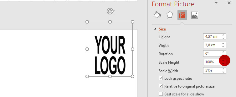 Screen capture of PowerPoint - Size and Position Task Pane